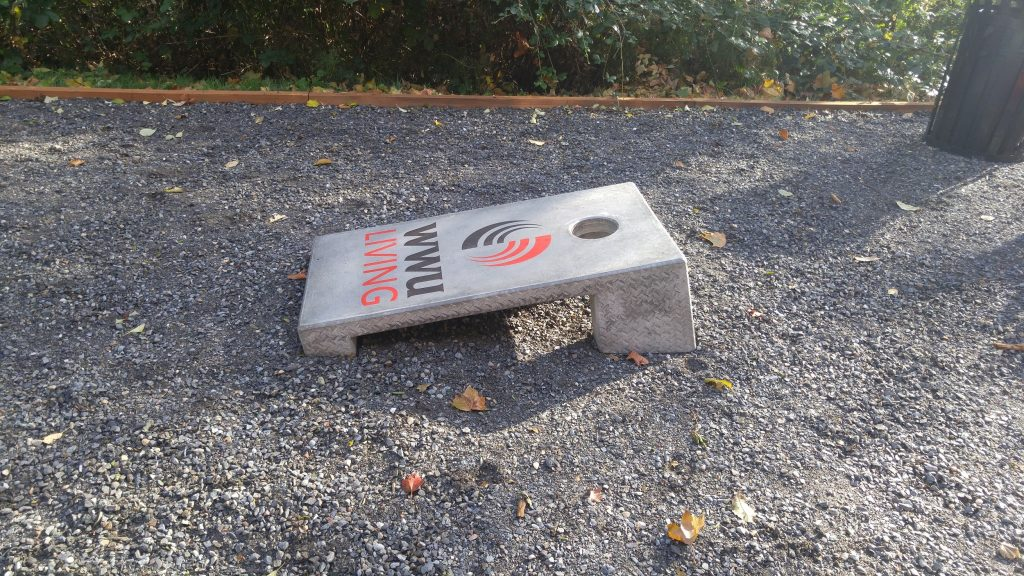 concrete corn hole board student housing