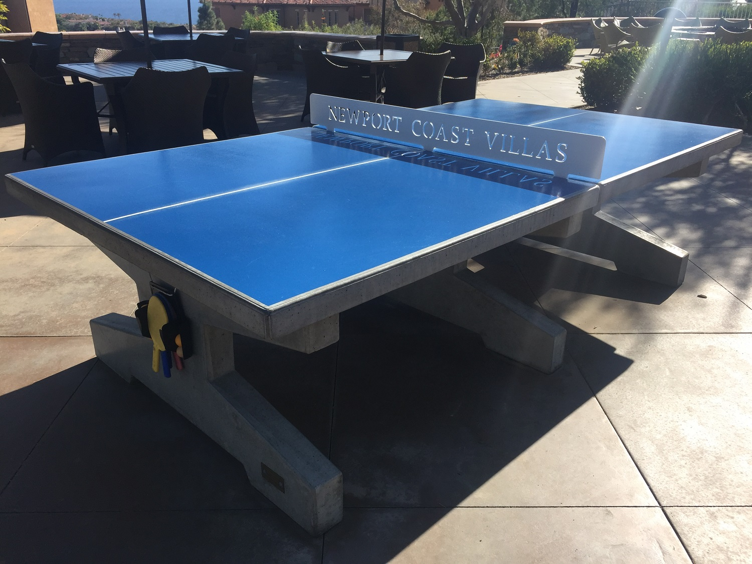 blue concrete ping pong table