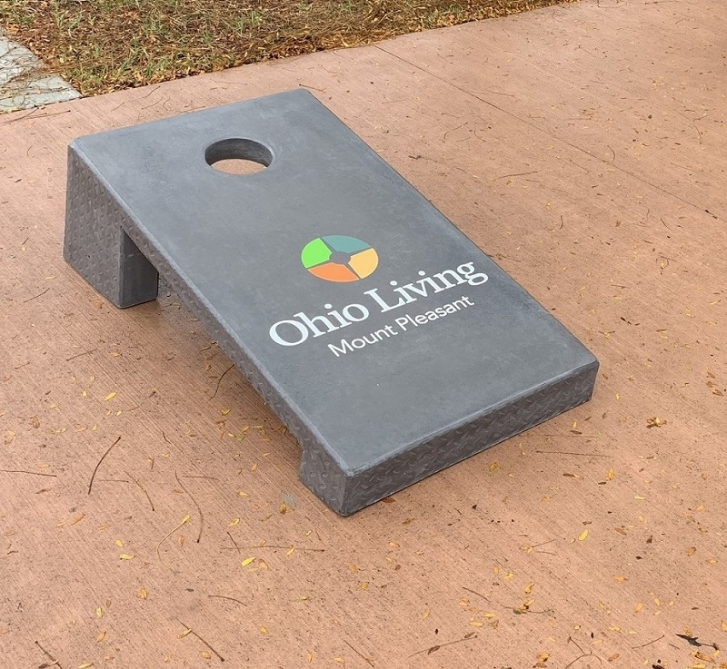 concrete corn hole boards senior living